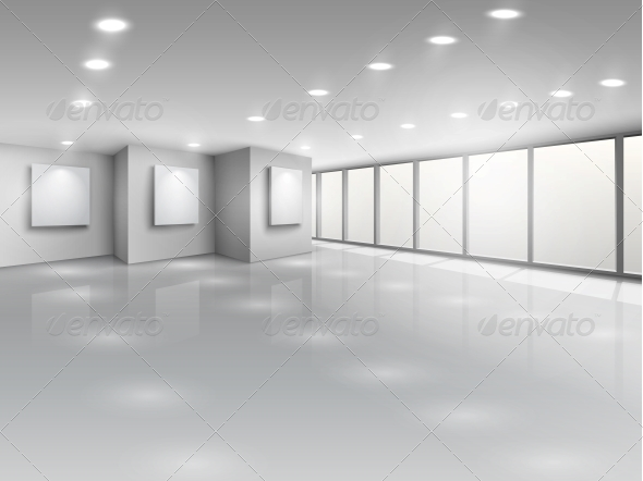 Empty Gallery Interior with Light Windows - Buildings Objects