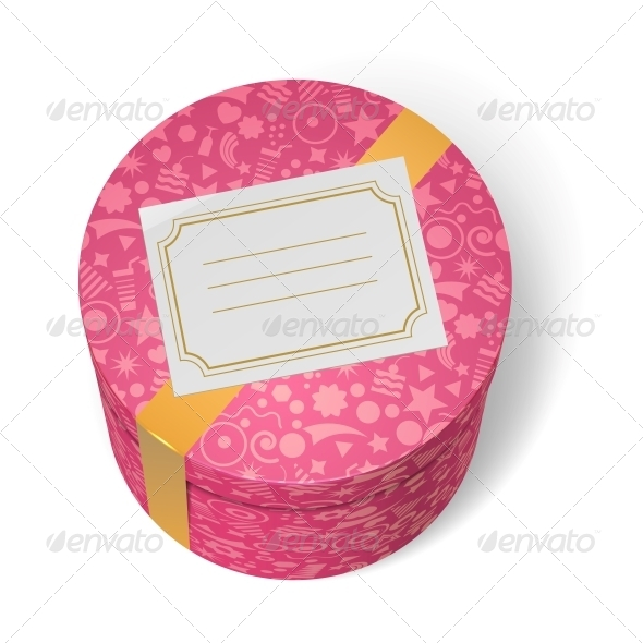 Pink Decorated Birthday Gifts Box with Yellow Ribbon - Birthdays Seasons/Holidays