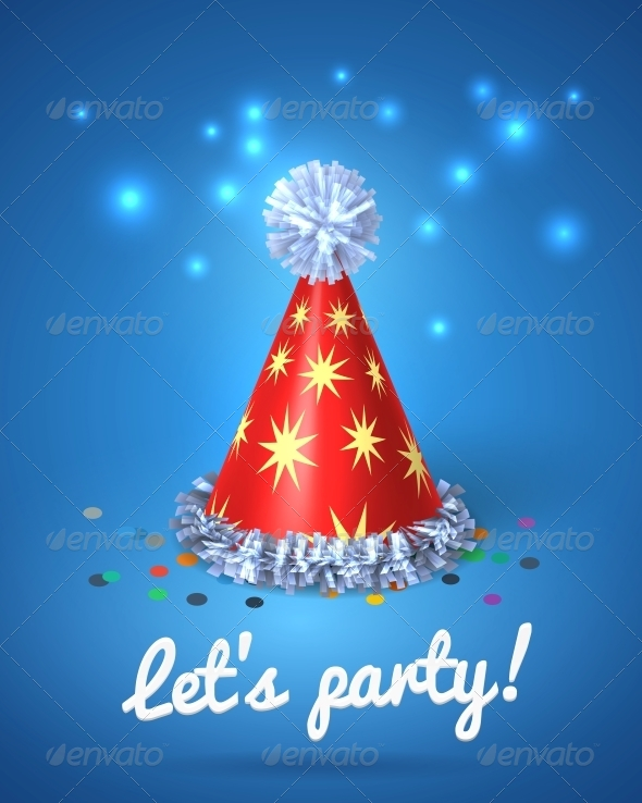 Let's Party Poster with Red Hat and Stars - Miscellaneous Seasons/Holidays