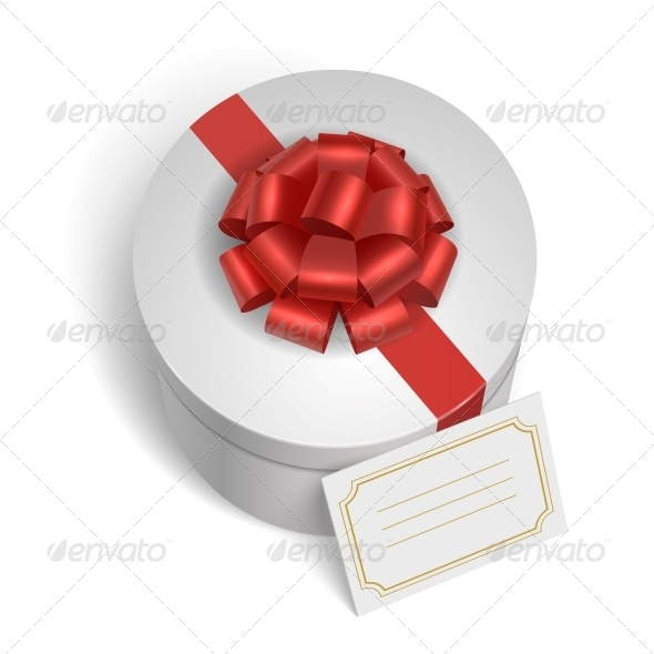 Classic Gift Box with Red Ribbon and Bow - Miscellaneous Seasons/Holidays
