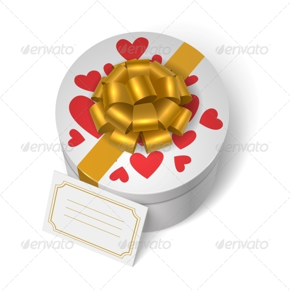 Valentines Present Box with Red Hearts - Valentines Seasons/Holidays