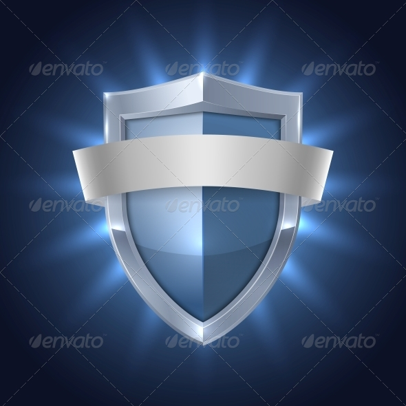 Glowing Shield with Blank Ribbon Safety Badge - Web Elements Vectors