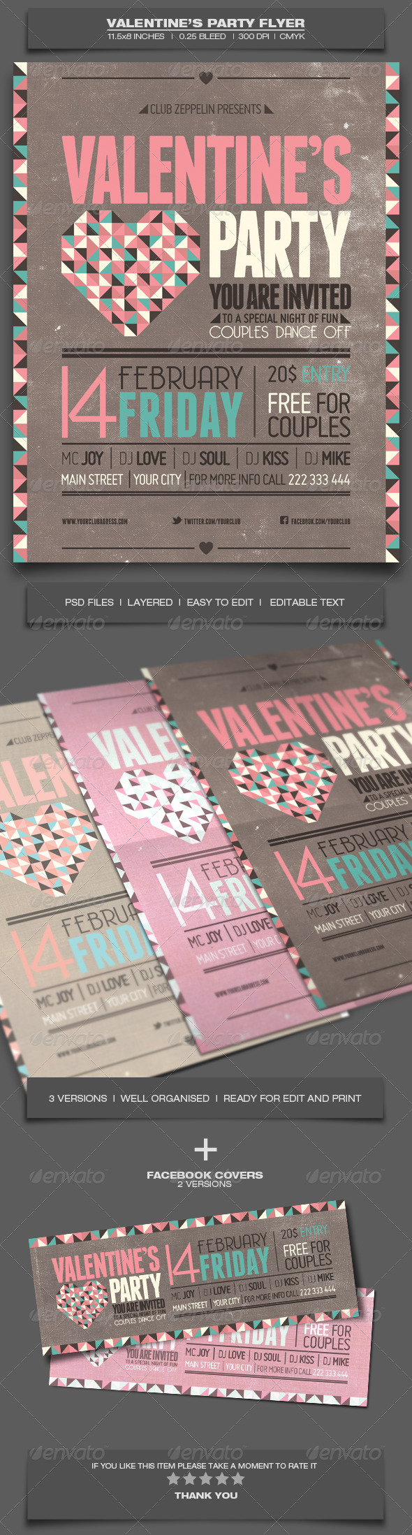 Valentine's Day Party - Event Flyer Template 5 - Holidays Events