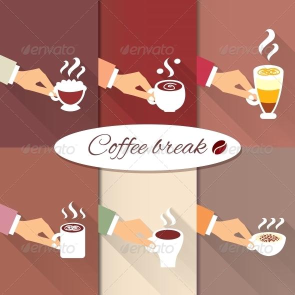 Business Hands Offering Hot Coffee Drinks - Web Elements Vectors