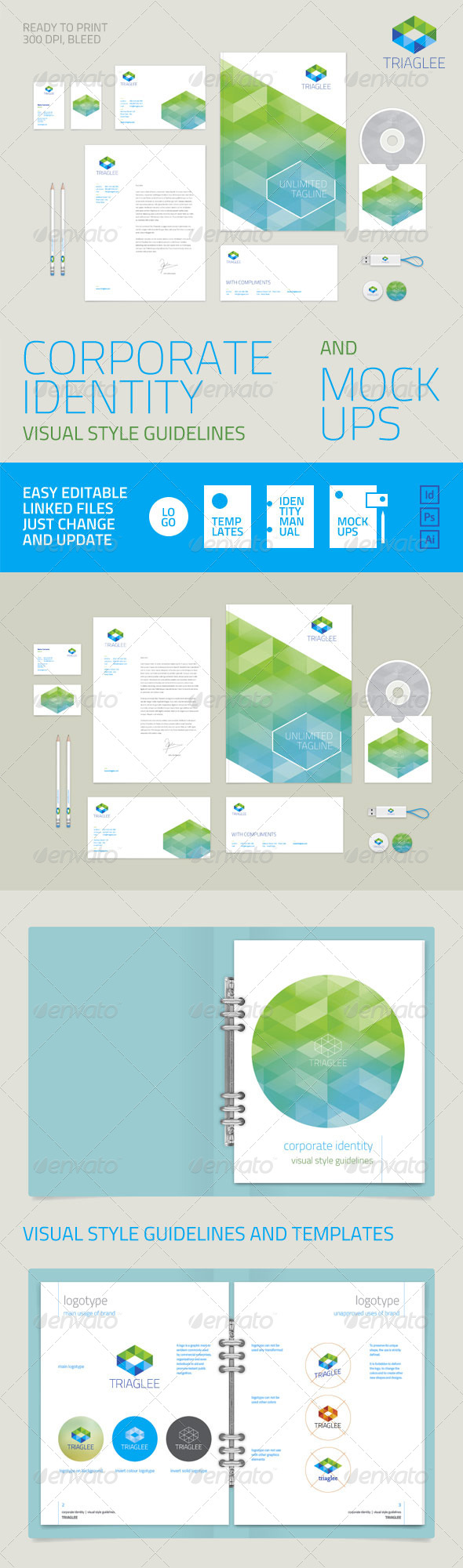 Corporate Identity Guidelines and Mock-ups - Stationery Print Templates