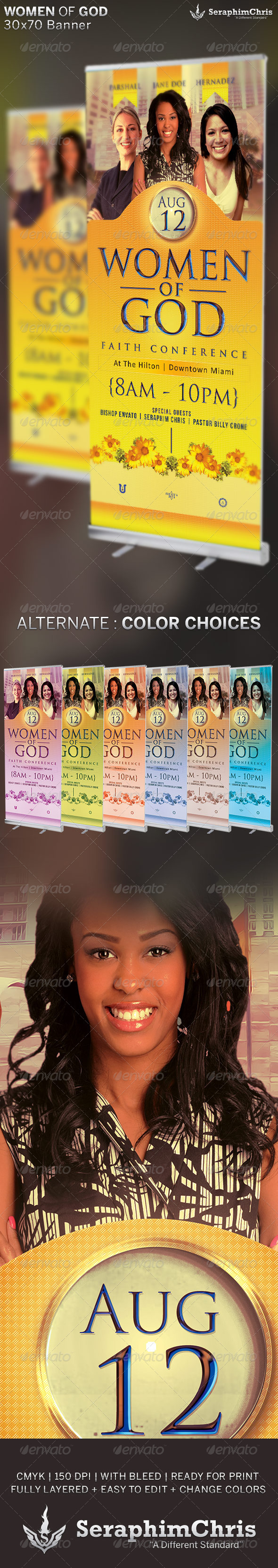 Women of God: Church Banner Template - Signage Print Templates
