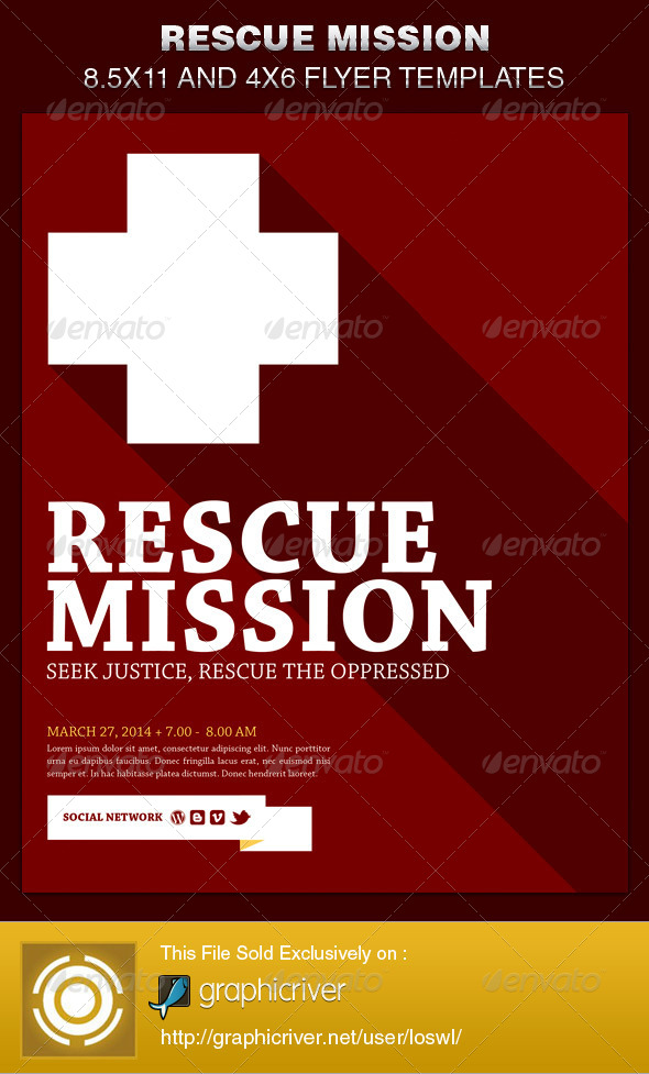 Rescue Mission Church Flyer Template   Church Flyers