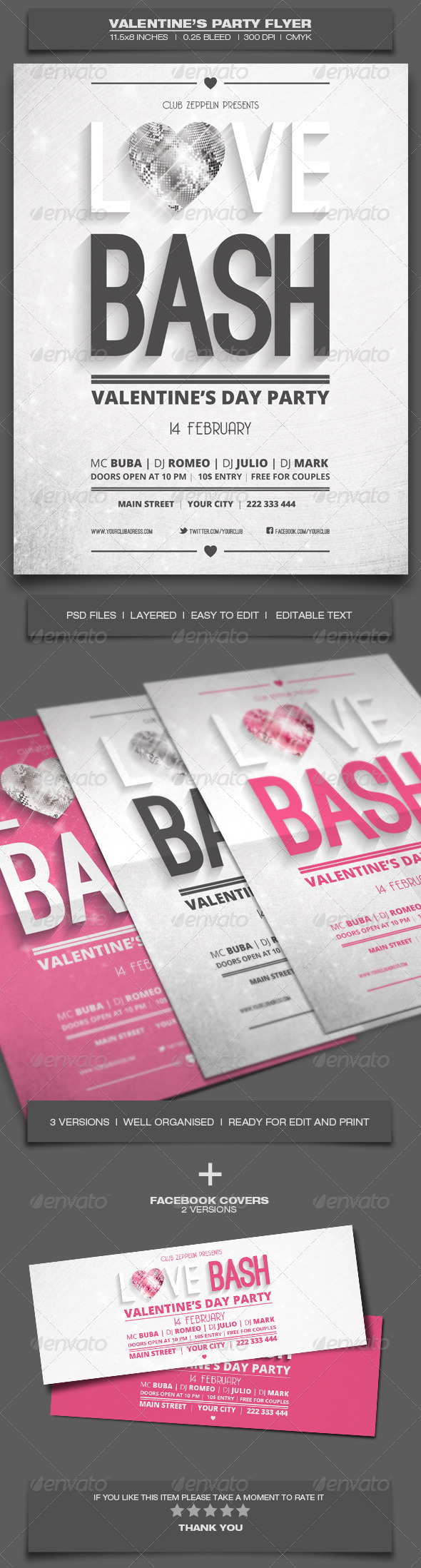 Valentine's Day Party - Event Flyer Template 6 - Holidays Events