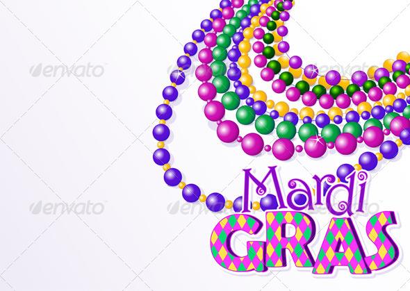 Mardi Gras Beads Background - Seasons/Holidays Conceptual