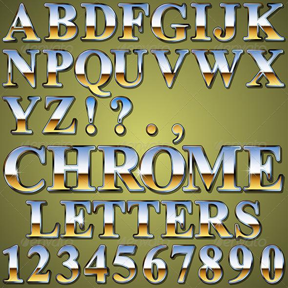 Chrome Metal Letters - Miscellaneous Vectors