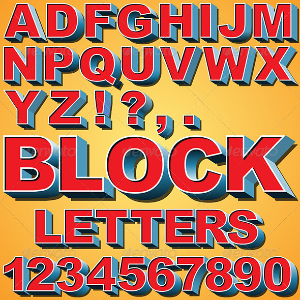 3D Block Letters - Miscellaneous Vectors