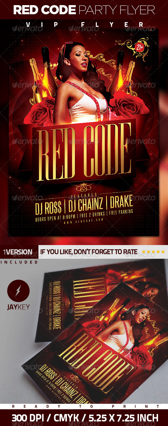 Red Code Party Flyer - Events Flyers
