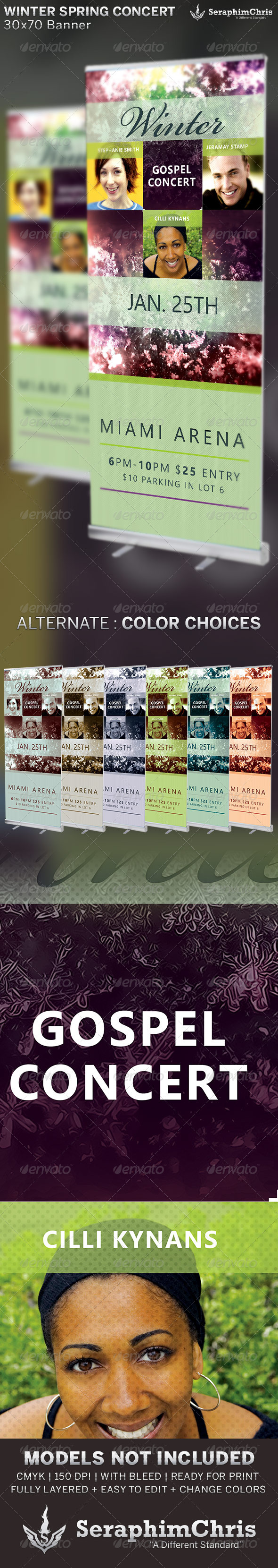 Winter Spring Concert Banner Template - Signage Print Templates