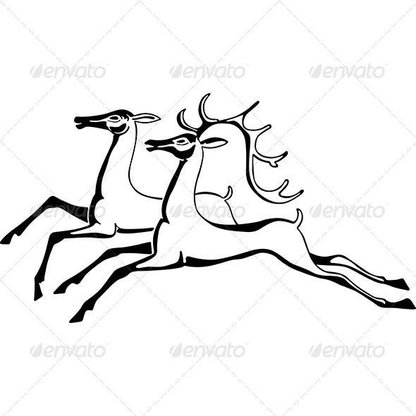 Running Deers - Animals Characters