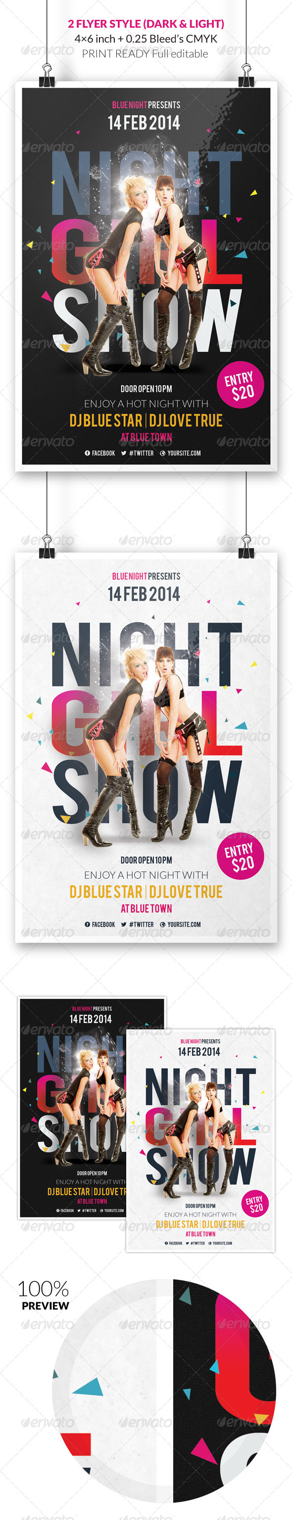 Night Girl Show Flyer Template - Events Flyers