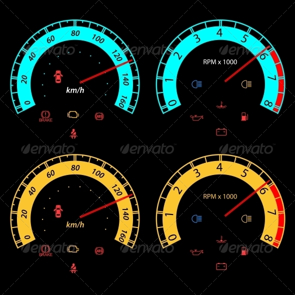 Set of Car Speedometers for Racing Design - Halloween Seasons/Holidays