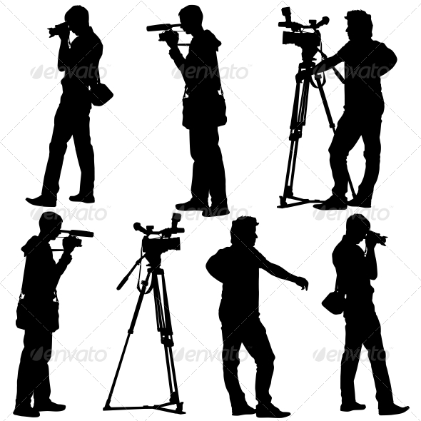 Cameramen Silhouettes with Video Camera - Halloween Seasons/Holidays