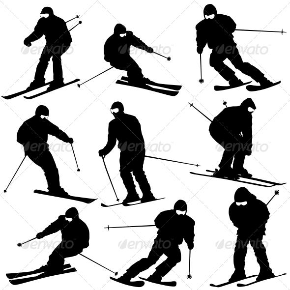 Mountain Skier Speeding Down Slope - Sports/Activity Conceptual