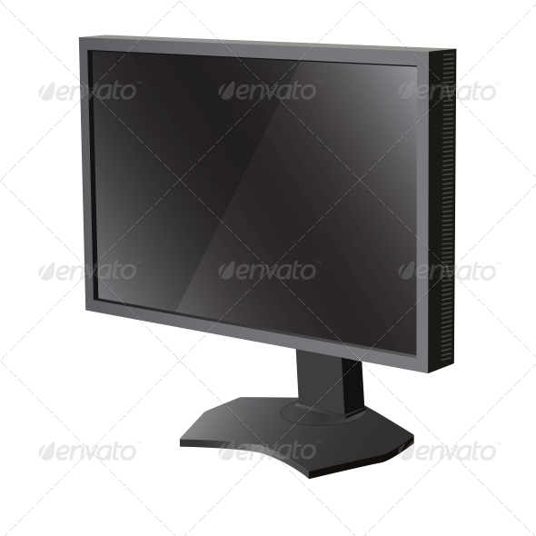 Black LCD Television Monitor - Computers Technology