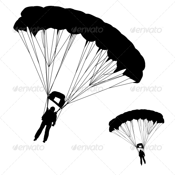 Skydiver Silhouettes Parachuting - Sports/Activity Conceptual
