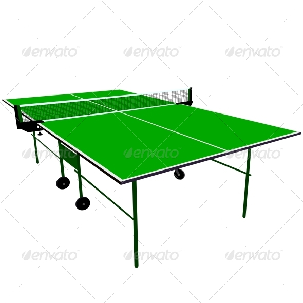 Ping Pong Green Table Tennis - Sports/Activity Conceptual