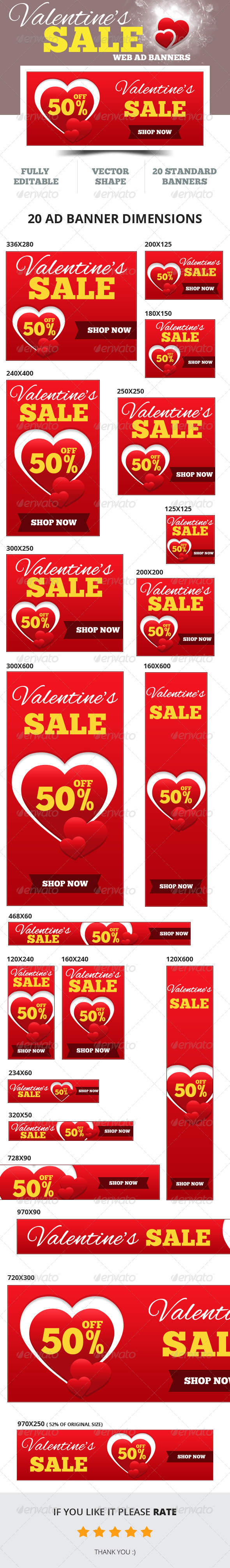Valentine's Sale Web Ad Banners - Banners & Ads Web Elements