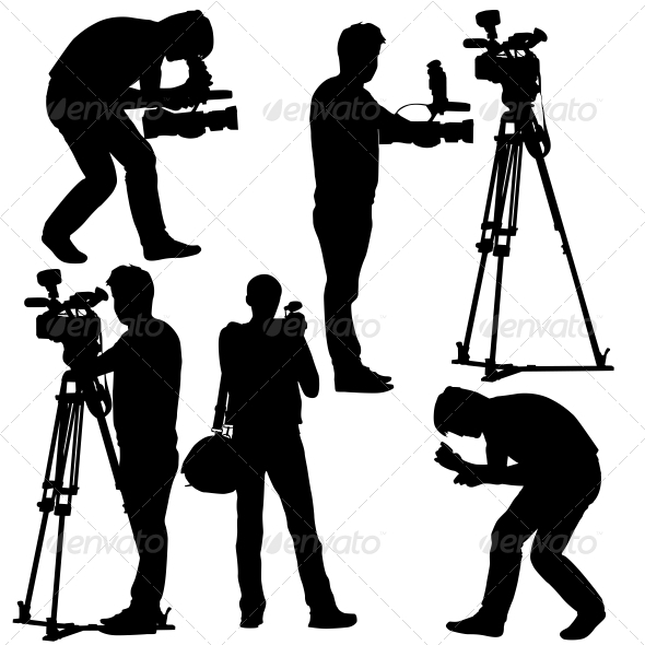Cameramen Silhouettes with Video Camera  - People Characters
