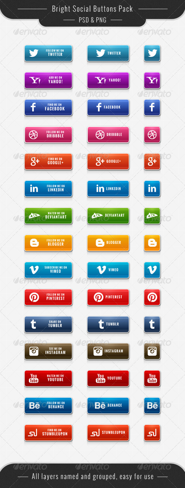 Bright Social Buttons Pack - Buttons Web Elements