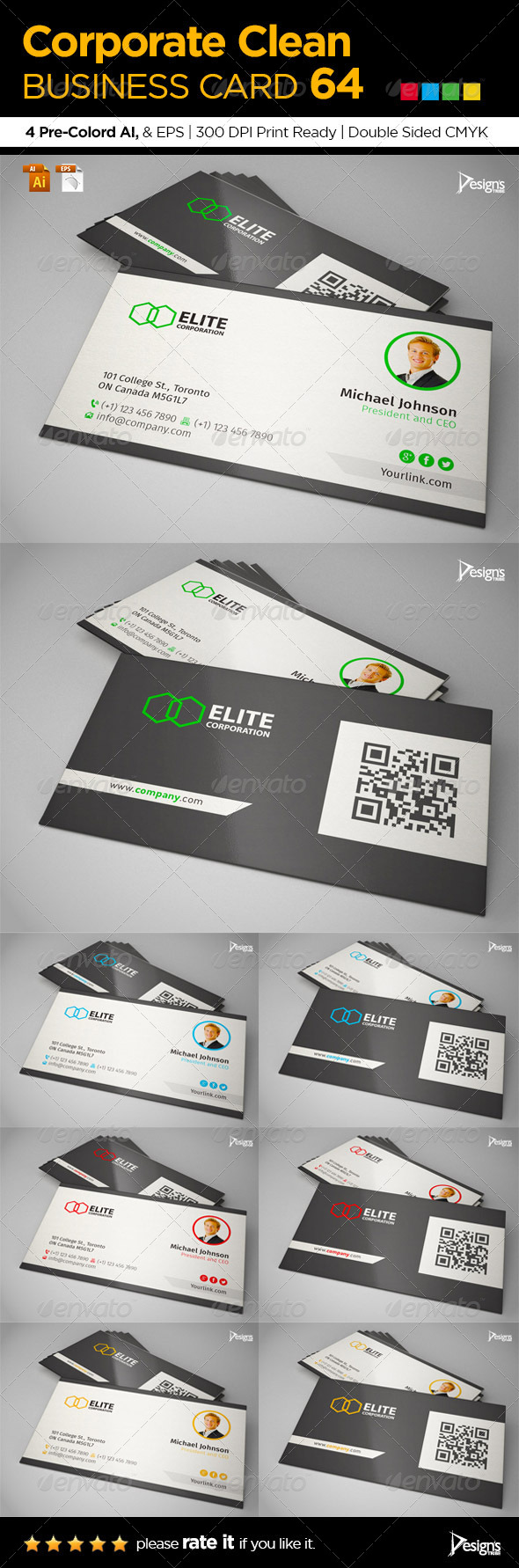 Corporate Clean Business Card 64 - Business Cards Print Templates