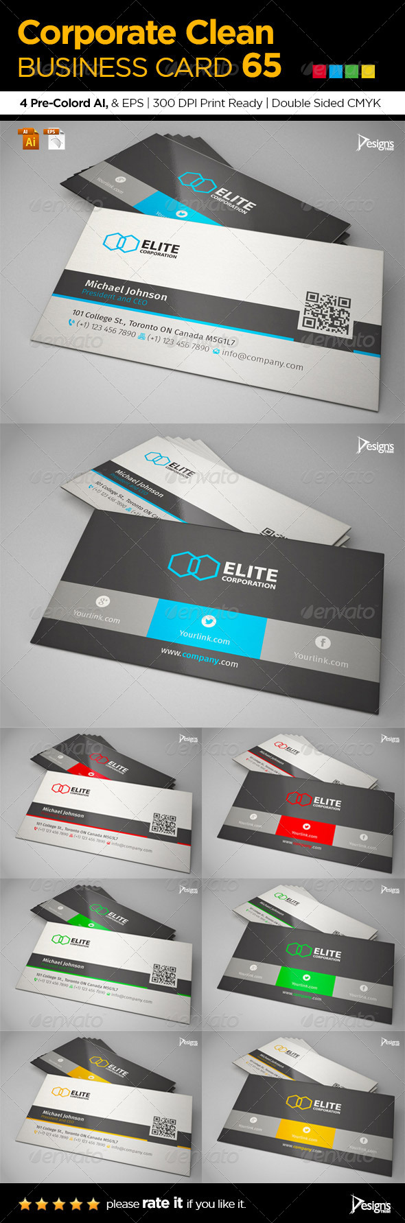 Corporate Clean Business Card 65 - Business Cards Print Templates
