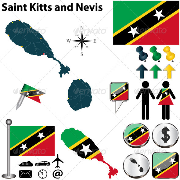 Map of Saint Kitts and Nevis - Travel Conceptual