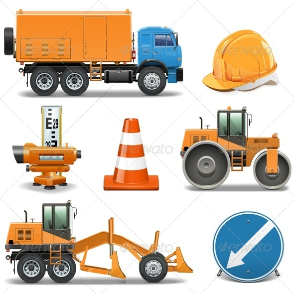 Road Construction Icons - Industries Business