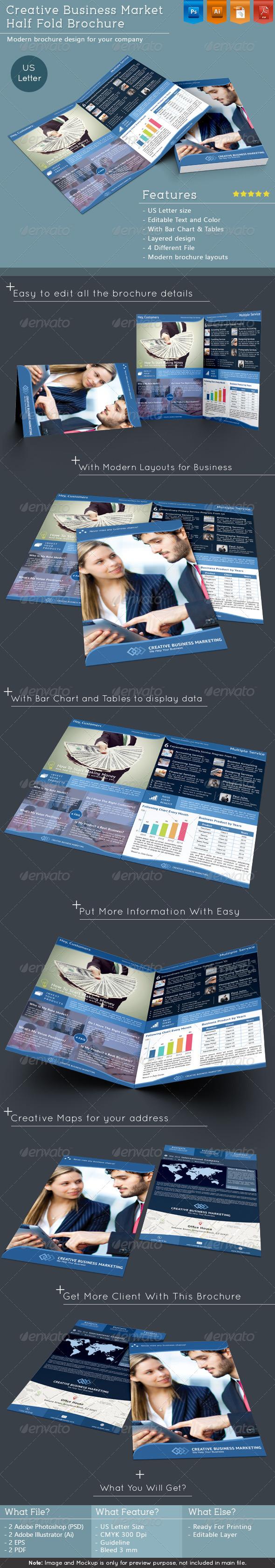 Creative Business Market Half Fold Brochure - Corporate Brochures