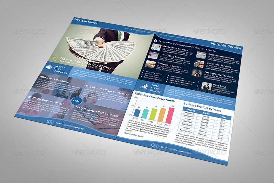 Creative Business Market Half Fold Brochure by arvaone | GraphicRiver