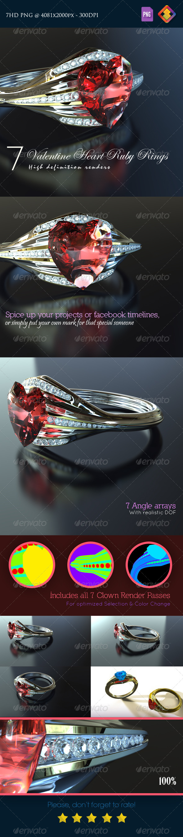 Valentine Heart Ruby Rings - Objects 3D Renders