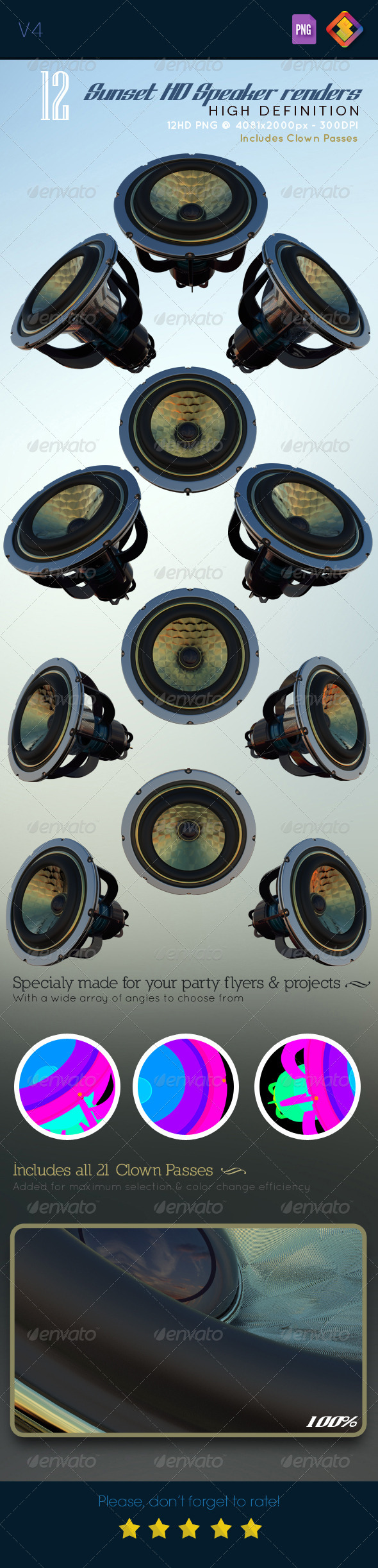 Sunset HD Speaker Renders V4 - Technology 3D Renders
