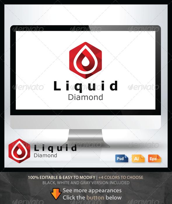 Liquid Diamond Logo - Objects Logo Templates