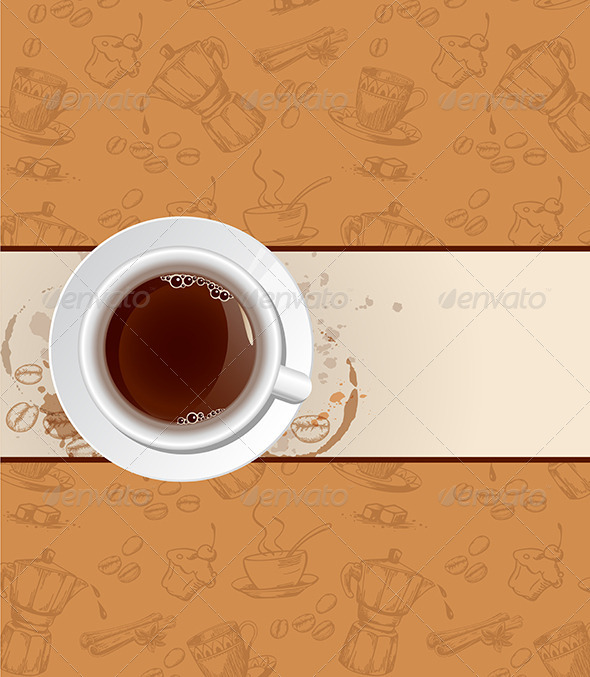 Coffee Background and Cup - Food Objects