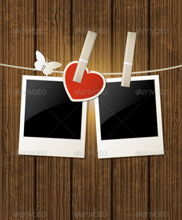 Background with Photo and Red Heart - Valentines Seasons/Holidays