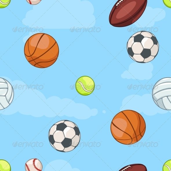 Seamless Pattern of Sport Balls on Sky  - Sports/Activity Conceptual