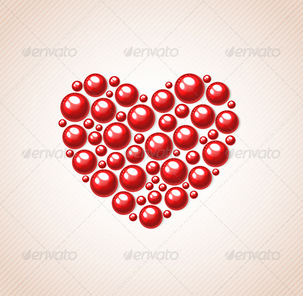 Red Heart of Bead  - Valentines Seasons/Holidays
