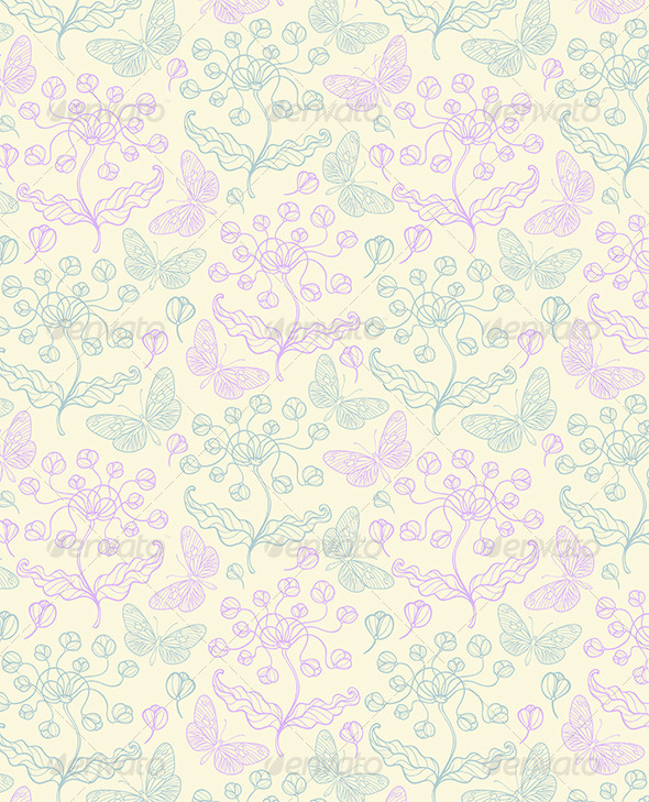 Pattern with Violet Flowers - Patterns Decorative