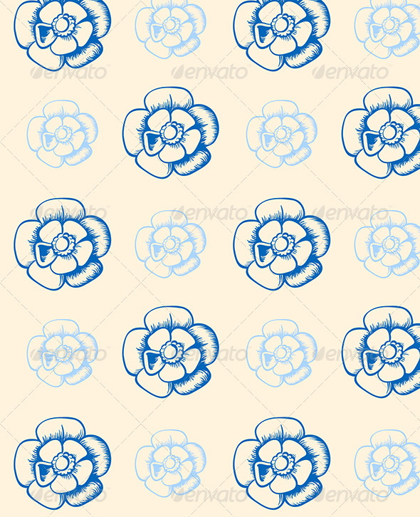 Vintage Seamless Pattern with Blue Flowers  - Patterns Decorative