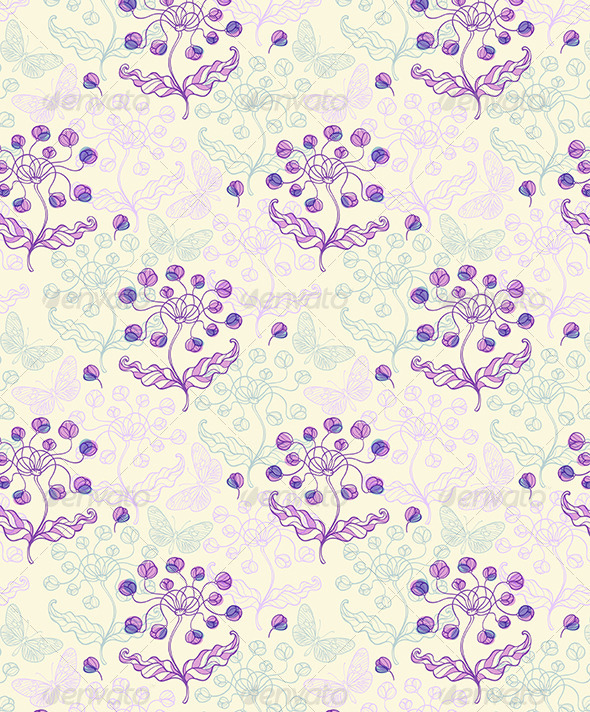 Pattern with Violet Flowers and Butterflies - Patterns Decorative