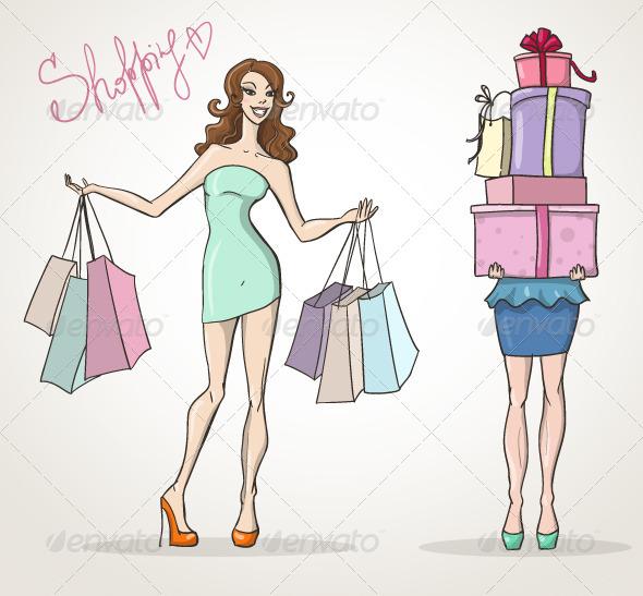 Shopaholic Shopping Girls - Commercial / Shopping Conceptual