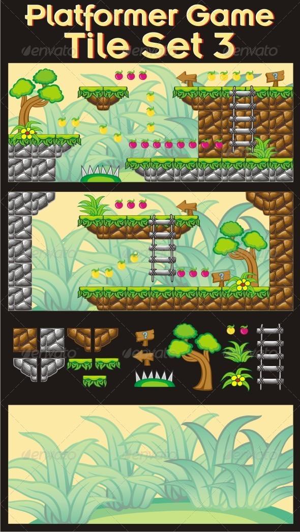 Platformer Game Tile Set 3 - Tilesets Game Assets