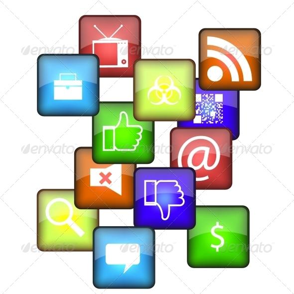Cellphone Icon Set - Web Technology