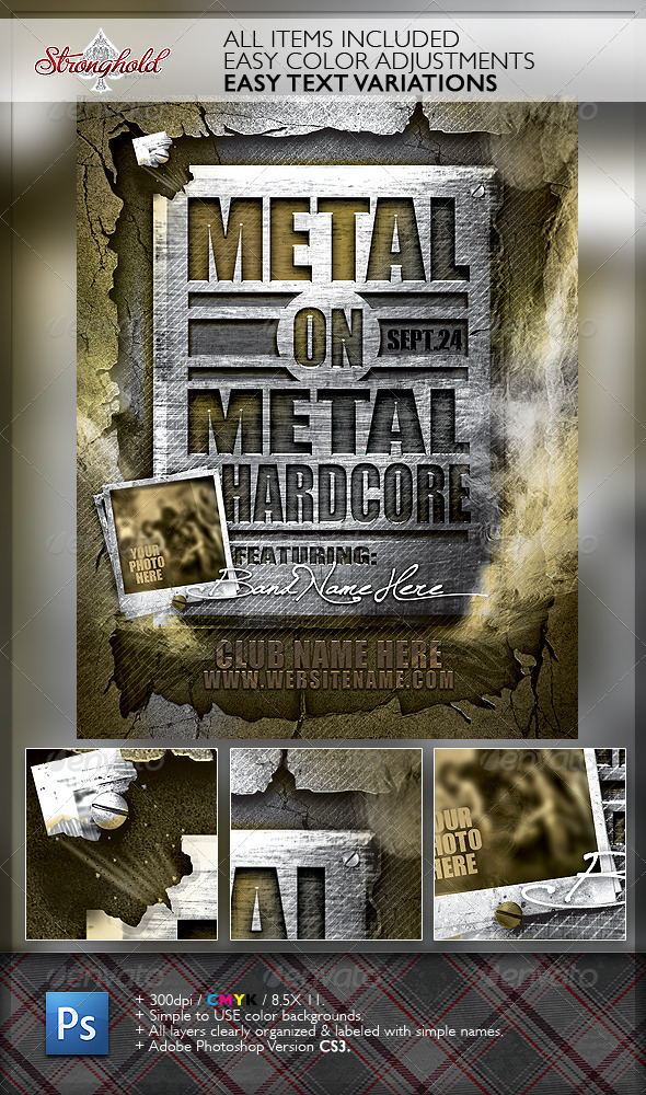 Metal on Metal Hardcore Flyer Template - Events Flyers