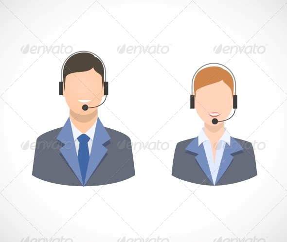 Call Center Support Personnel Staff Icons - Concepts Business