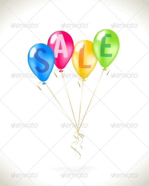 Flying Balloons with Sale Promotion - Retail Commercial / Shopping